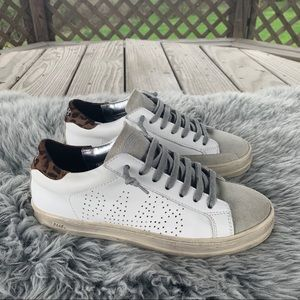 P448 John Sneakers in White Leather Leopard EU 36